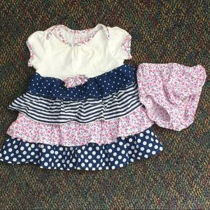 Adorable multi-pattern dress with diaper cover